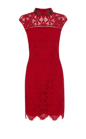 Karen Millen, BEADED-COLLAR LACE DRESS Red 0