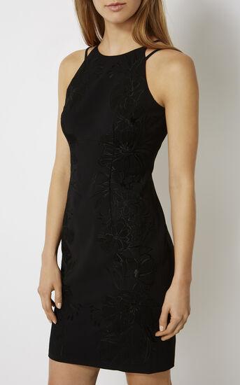 Karen Millen, FLORAL-APPLIQUÉ PENCIL DRESS Black 2
