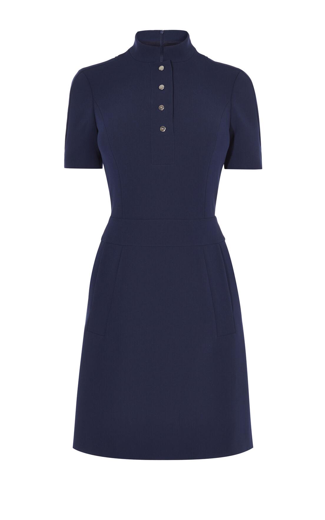 Karen Millen, MANDARIN-COLLAR DRESS Navy 0