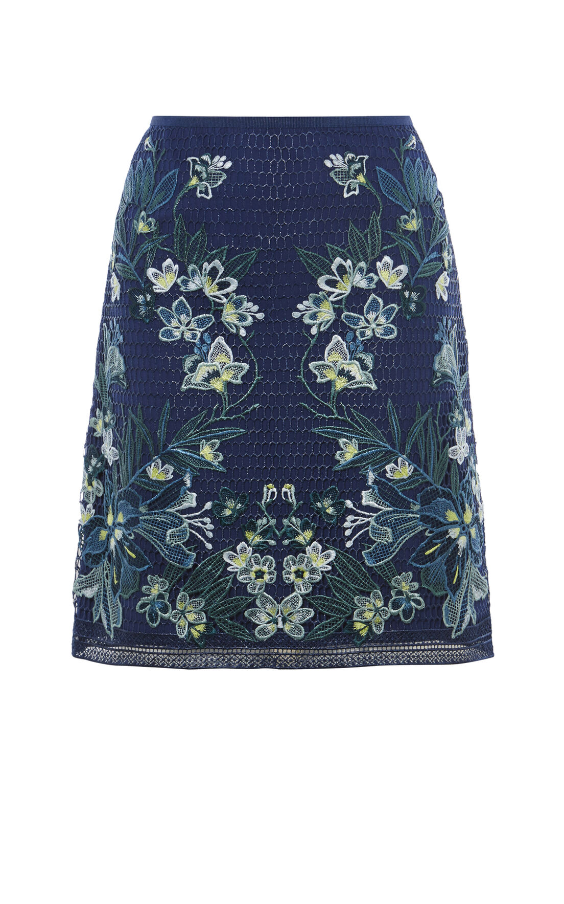 Karen Millen, TROPICAL-EMBROIDERY LACE SKIRT Blue/Multi 0