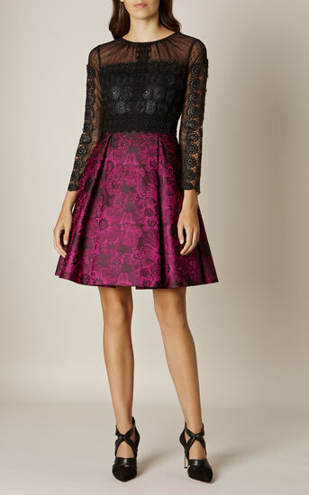 Karen Millen, LACE AND JACQUARD PROM DRESS Black/Multi 1