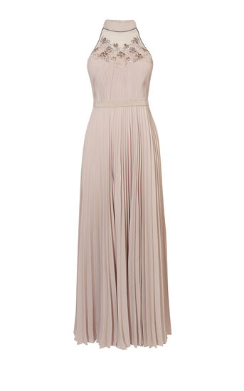 Karen Millen, JEWEL PLEATED MAXI DRESS Nude 0