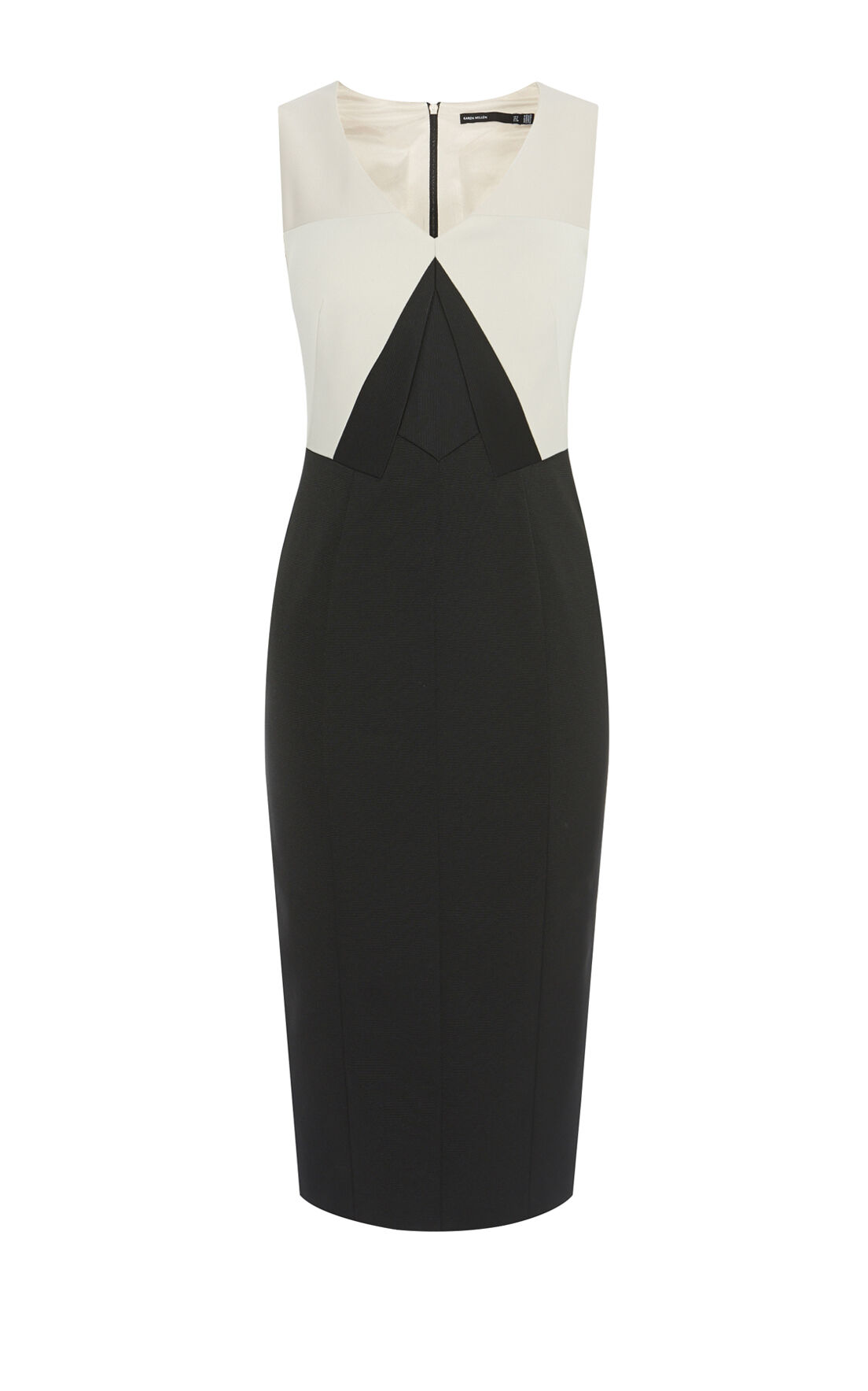 Karen Millen, COLOURBLOCK PENCIL DRESS Black & Ivory 0