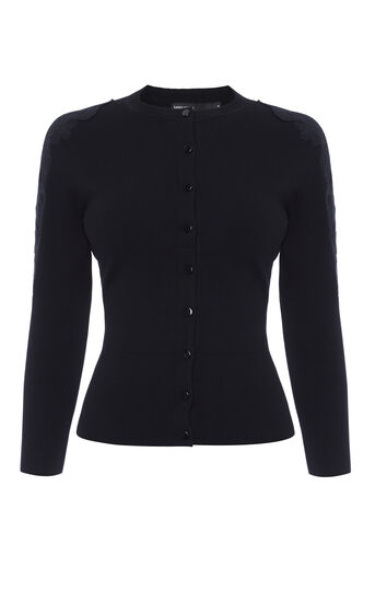 Karen Millen, LACE SHOULDER CARDIGAN Black 0