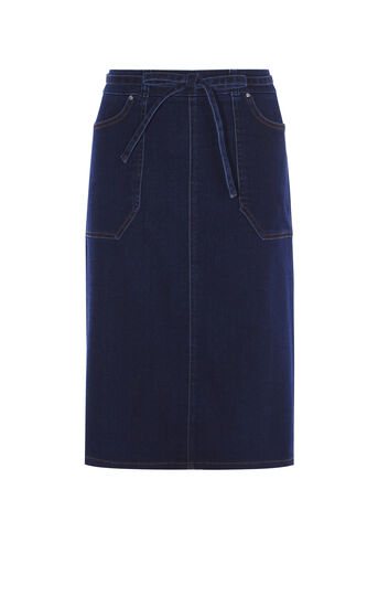 Karen Millen, DENIM A-LINE SKIRT Dark Denim 0