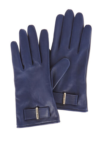 Karen Millen, LEATHER BOW GLOVE Navy 0