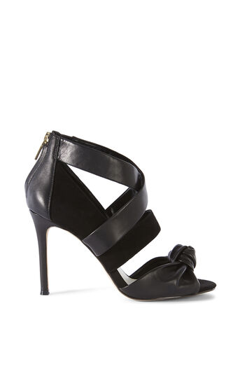 Karen Millen, LEATHER AND SUEDE SANDAL Black 0