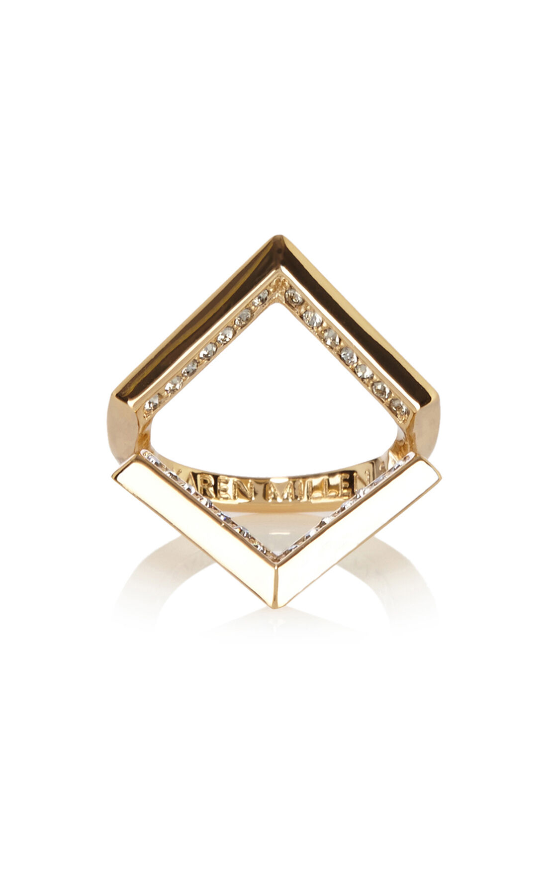 Karen Millen, Angle Crystal Ring Gold Colour 0