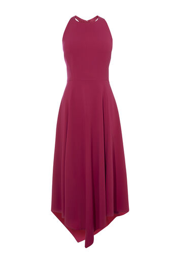 Karen Millen, FLUID MIDI DRESS Magenta 0