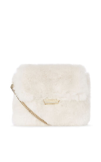 Karen Millen, FAUX FUR CHAIN BAG White 0