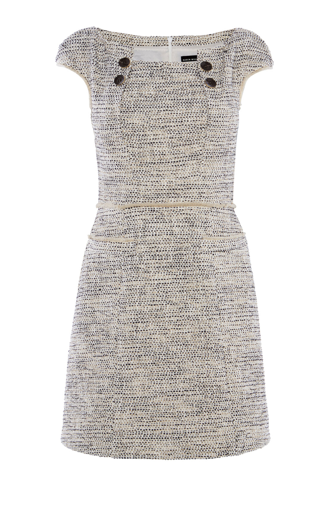 Karen Millen, BOUCLÉ TWEED SHIFT DRESS Blk&Wht 0