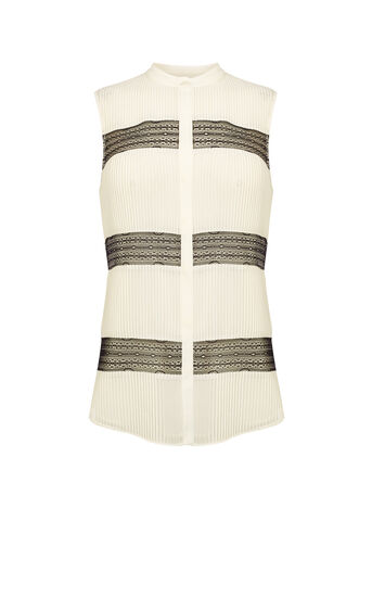 Karen Millen, CREAM PINTUCK & LACE BLOUSE White/Multi 0
