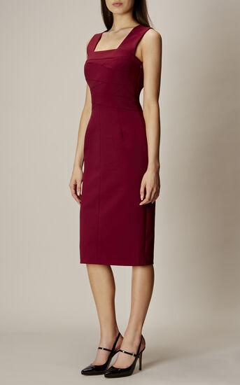 Karen Millen, SQUARE NECKLINE PENCIL DRESS Aubergine 2