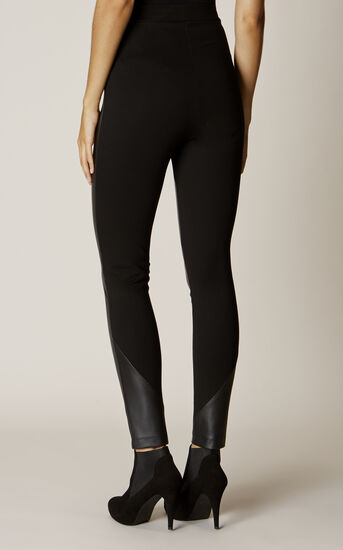 Karen Millen, FAUX-LEATHER AND JERSEY LEGGIN Black 3