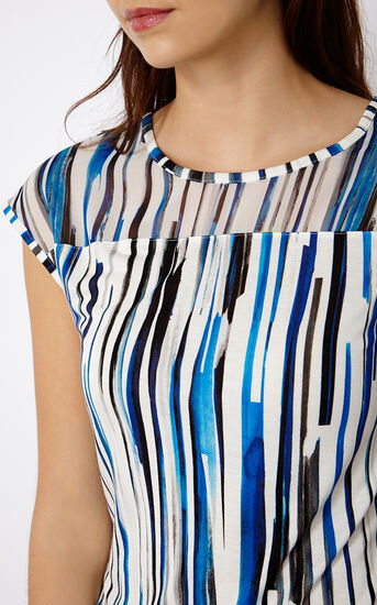 Karen Millen, STRIPED T-SHIRT Blue/Multi 4