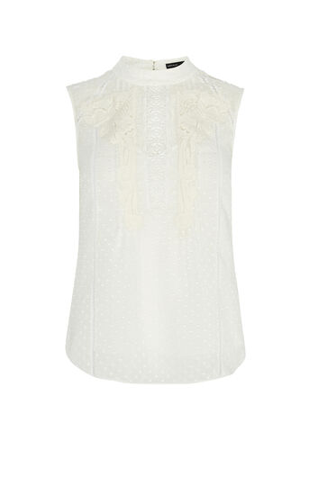 Karen Millen, HIGH-NECK LACE BLOUSE Ivory 0