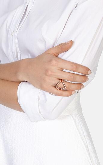 Karen Millen, The Angle Crystal Ring Rose Gold 1