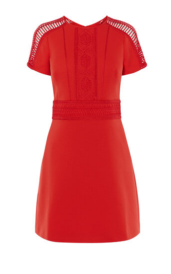 Karen Millen, BRAIDING DRESS Red 0