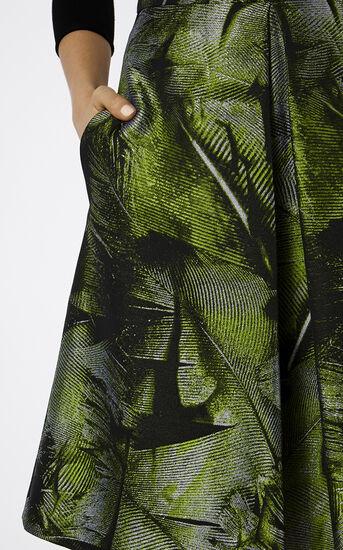 Karen Millen, PALM-LEAF JACQUARD SKIRT Green/Multi 4