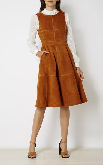 Karen Millen, SUEDE FLARED DRESS Tan 1