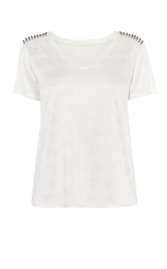 Karen Millen, STUD SHOULDER T-SHIRT White 0