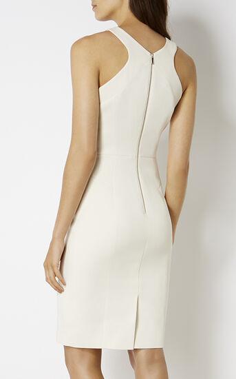 Karen Millen, KNOT-NECKLINE PENCIL DRESS White 3