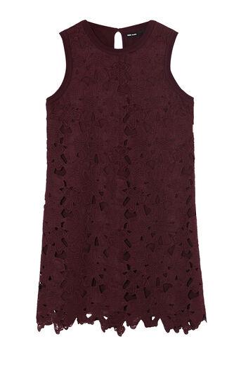 Karen Millen, FLORAL LACE SHIFT DRESS Dark Red 0