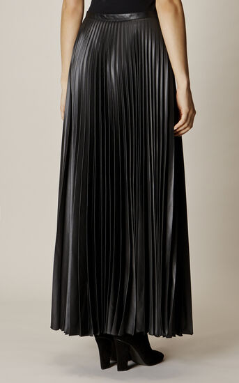 Karen Millen, WETLOOK PLEAT MAXI SKIRT Black 3