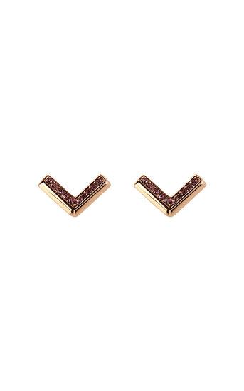 Karen Millen, The Angle Crystal Earrings Rose Gold 0