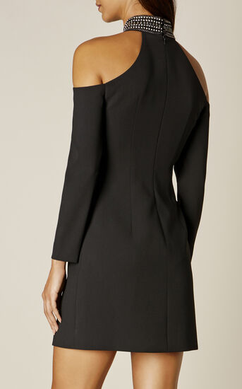 Karen Millen, JEWELLED NECKLINE DRESS Black 3