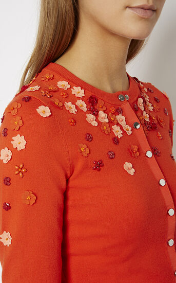 Karen Millen, FLORAL BEADED CARDIGAN Orange 4