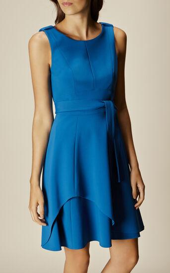 Karen Millen, ASYMMETRIC FLARED DRESS Blue 2