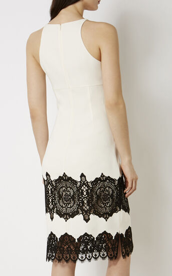 Karen Millen, LACE CREPE DRESS White/Multi 3