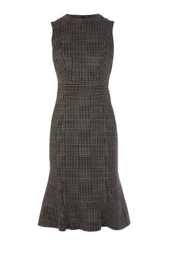 Karen Millen, CHECKED SLEEVELESS FRILL-HEM D Black 0