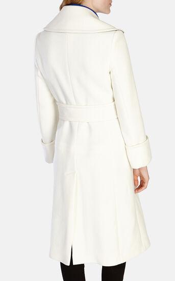 Karen Millen, WINTER WHITE LONG LINE BELTED Ivory 3