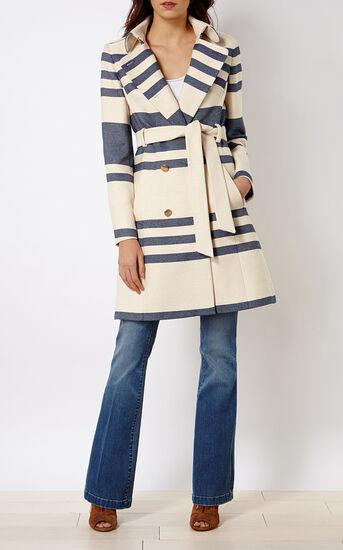 Karen Millen, STRIPED TRENCH COAT White/Mult 1