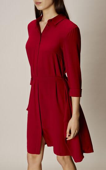 Karen Millen, ASYMMETRIC SHIRT DRESS Dark Red 2