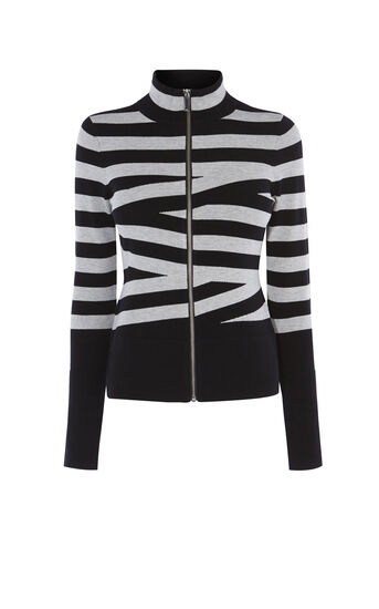 Karen Millen, CROSSHATCH CARDIGAN Black/Multi 0