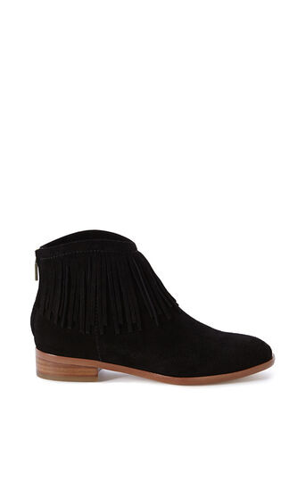 Karen Millen, SUEDE FRINGED ANKLE BOOT Black 0