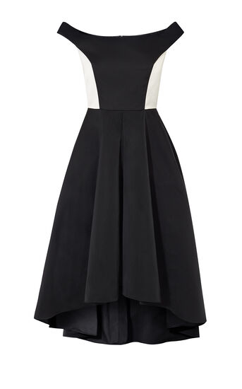 Karen Millen, OFF-THE-SHOULDER PROM DRESS Black & Ivory 0