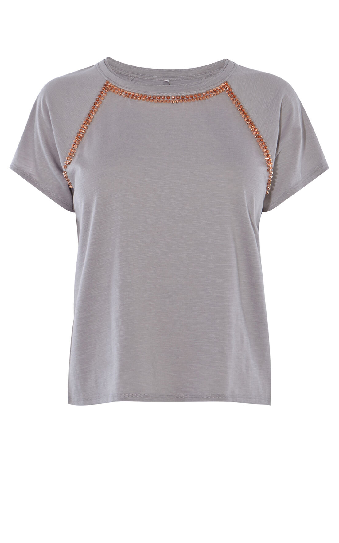 Karen Millen, STUDDED T-SHIRT Grey 0
