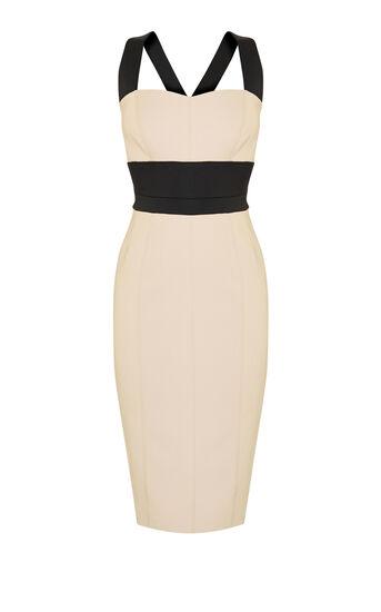 Karen Millen, CROSS-OVER STRAP DRESS Nude 0
