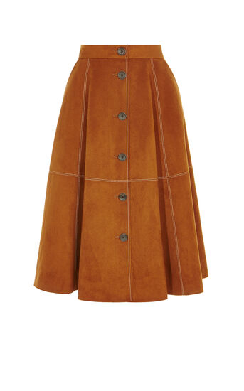 Karen Millen, BUTTON-FRONT FAUX-SUEDE SKIRT Tan 0