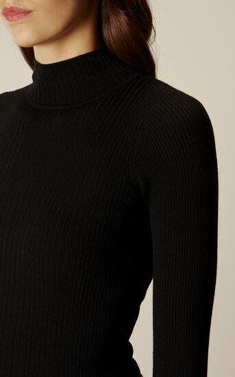 Karen Millen, RIB TURTLE-NECK JUMPER Black 4