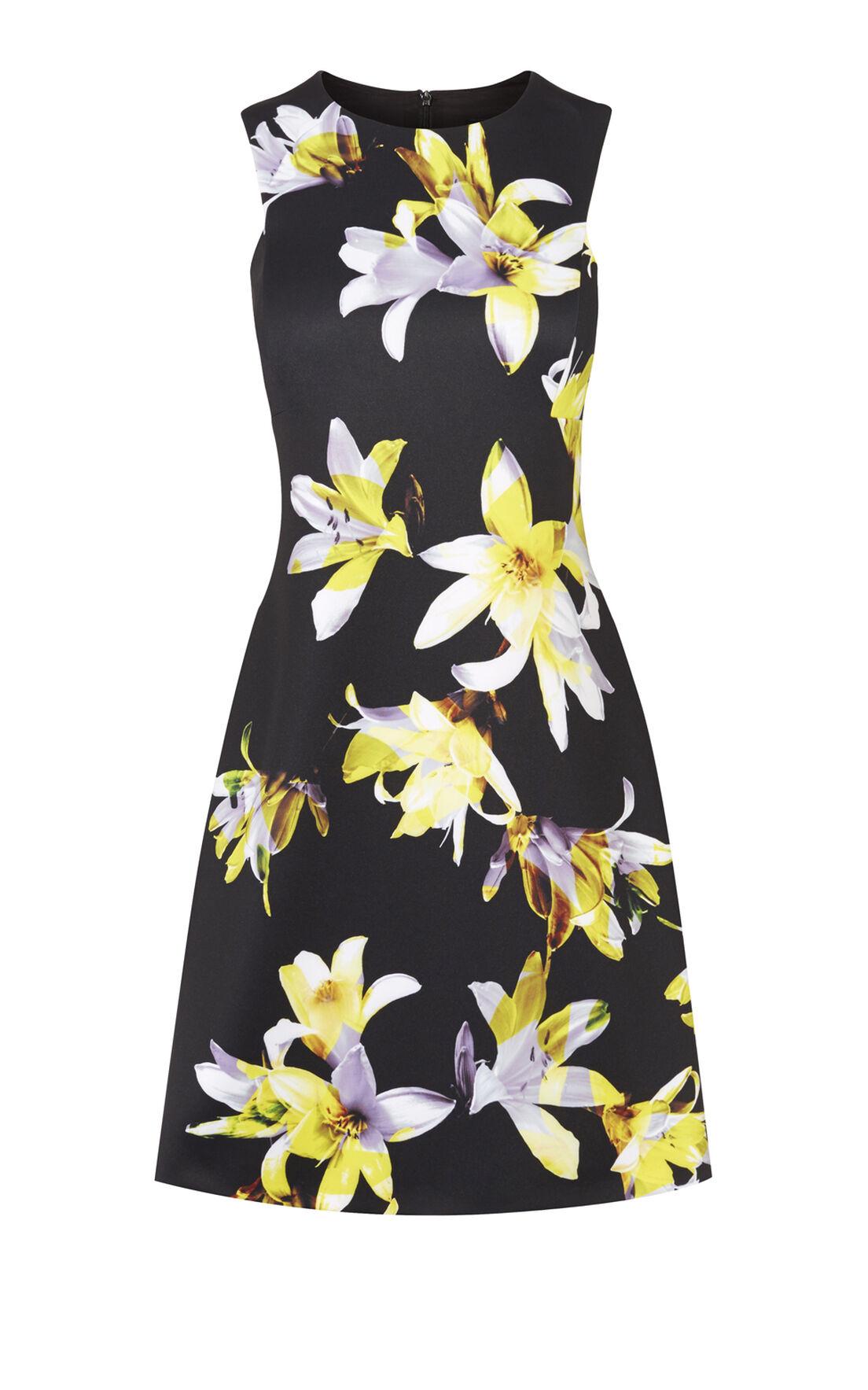Karen Millen, ORCHID-PRINT SCUBA DRESS Multicolour 0