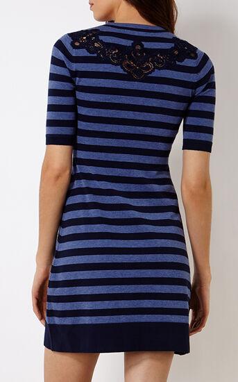 Karen Millen, KNITTED STRIPE DRESS Blue 3
