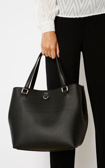 Karen Millen, EMBOSSED BUCKET BAG Black 1