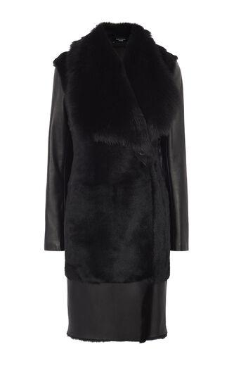 Karen Millen, BLACK SHEARLING COAT Black 0