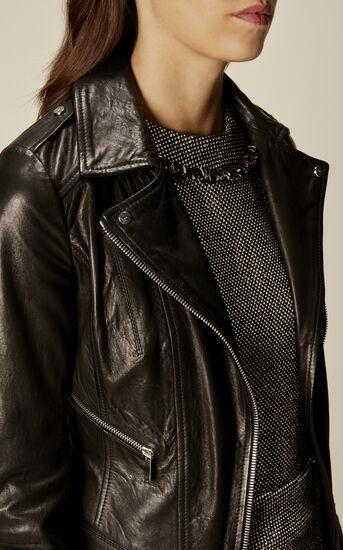 Karen Millen, LEATHER BIKER JACKET Black 4
