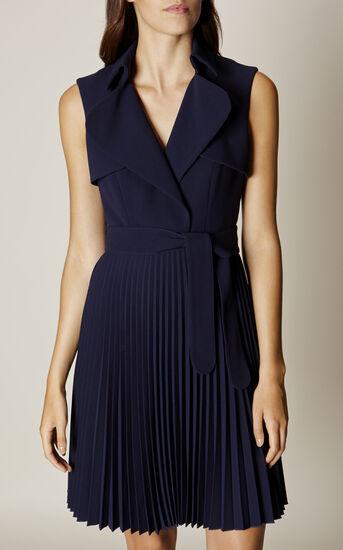 Karen Millen, PLEATED TRENCH DRESS Navy 2